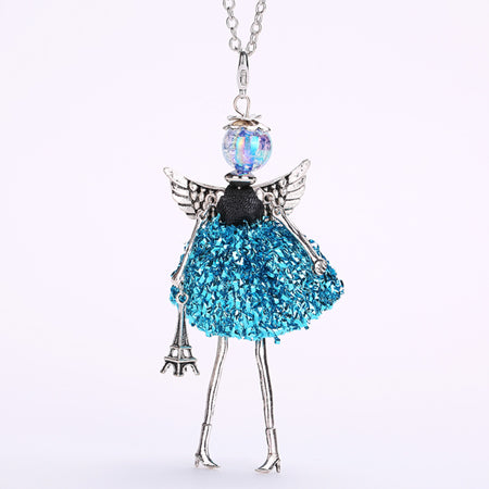 Image of Handmade Doll with Angel Wings Paris Necklace