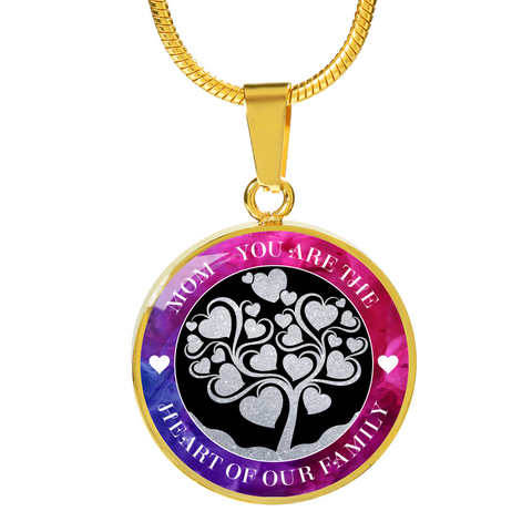 """Mom ~ You are the Heart of Our Family"" Pink Purple Necklace or Bangle Bracelet"