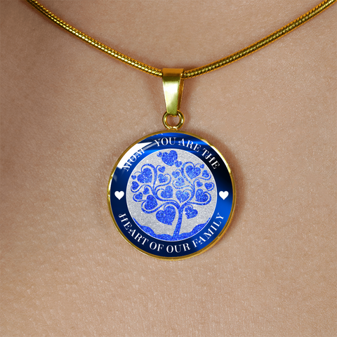 """Mom ~ You are the Heart of Our Family"" Blue Necklace or Bangle Bracelet"