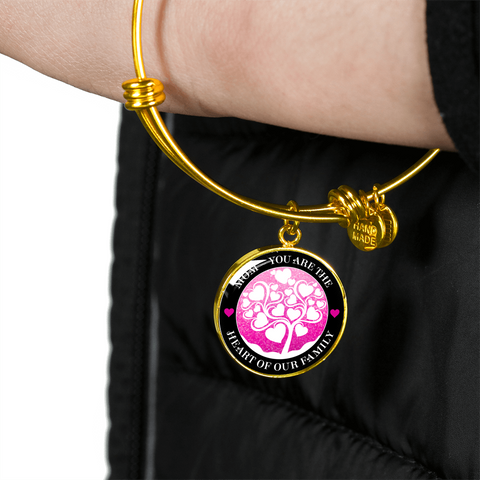 """Mom ~ You Are the Heart of Our Family"" Pink Black Necklace or Bracelet"