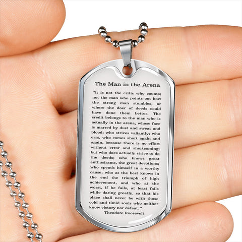 """The Man in The Arena"" by Roosevelt Military Chain Neckace"