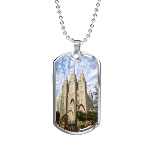 Salt Lake Temple Tag with Military Chain