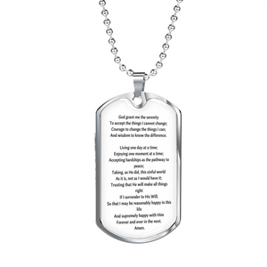 Serenity Pray Tag & Military Chain