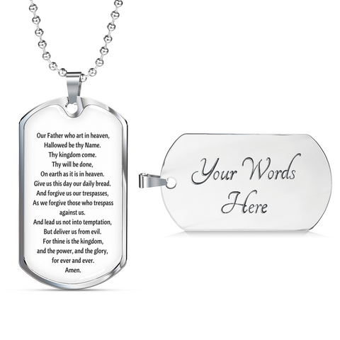 The Lord's Prayer Tag with Military Chain