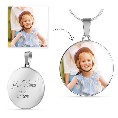 Image of Your Photo Custom Design Circle Charm Necklace Jewelry with Optional Engraving