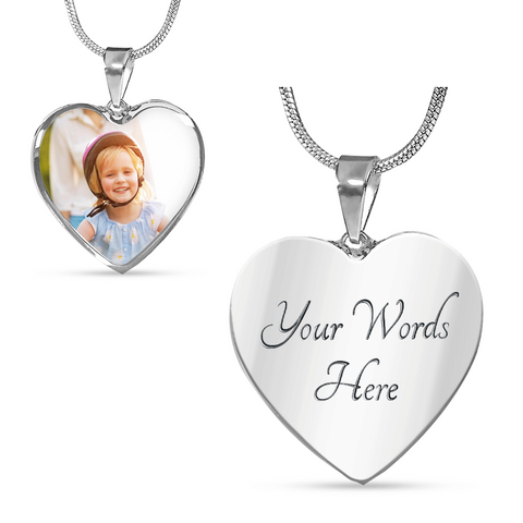 Image of Your Photo Custom Design Heart Charm Necklace Jewelry with Optional Engraving