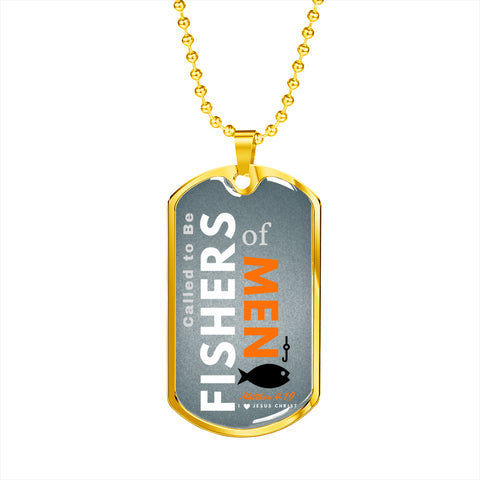 "Image of ""Called to Be Fishers of Men"" Gray Military Chain Necklace"