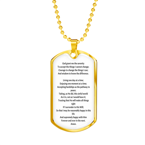 Image of Serenity Pray Tag & Military Chain