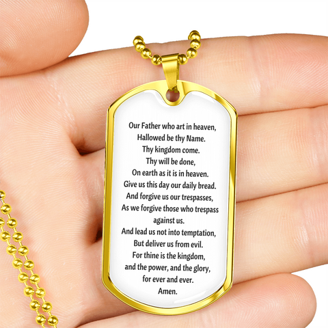 Image of The Lord's Prayer Tag with Military Chain
