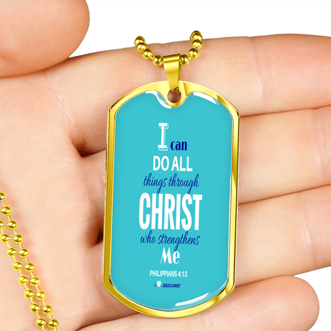 "Image of ""I can do all things through CHRIST"" Tag & Military Chain"