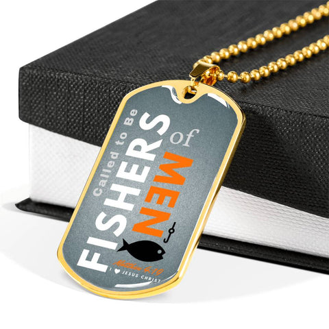 """Called to Be Fishers of Men"" Gray Military Chain Necklace"