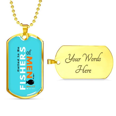 "Image of Called to Be ""Fishers of Men""- Blue - Tag & Military Chain"