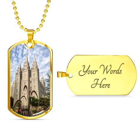 Image of Salt Lake Temple Tag with Military Chain