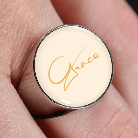 Grace Peach Signet Ring