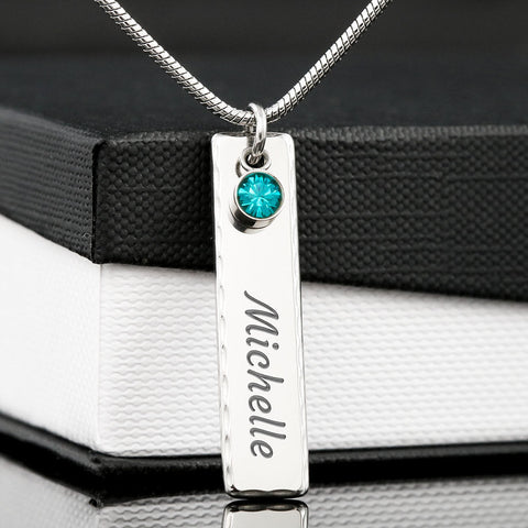 Image of Birthstone Name Plate Pendant Necklace