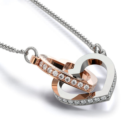 "Image of ""To Wife, Love Husband-Heart to Heart"" Interlocking Hearts Necklace"