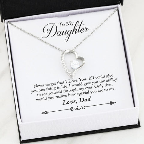 """To Daughter, Love Dad-Never Forget"" Forever Love Heart Necklace"