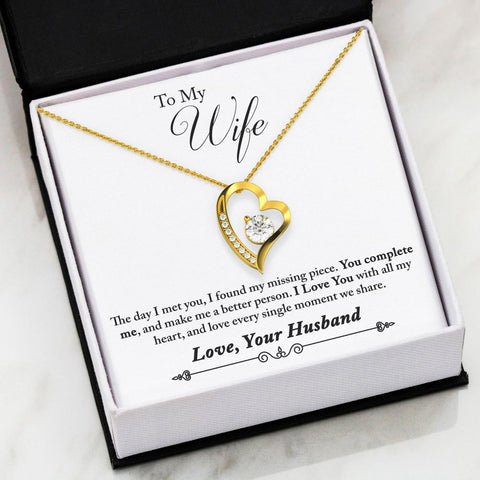 """To Wife, Love Husband- Complete Me"" Forever Love Heart Necklace"
