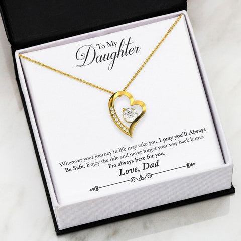 """To Daughter, Love Dad-Always Be Safe"" Forever Love Heart Necklace"