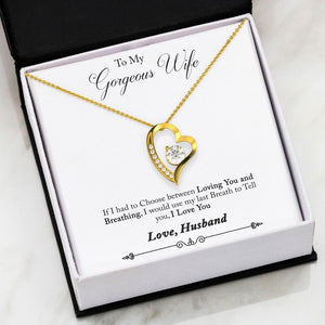 """To Wife, Love Husband-Last Breath"" Forever Love Heart Necklace"