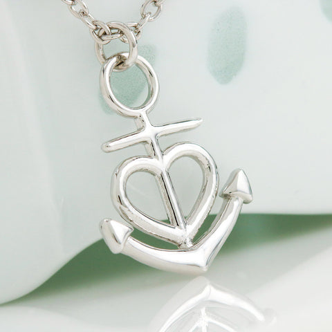 Friendship Anchor Silver Necklace with Message Card
