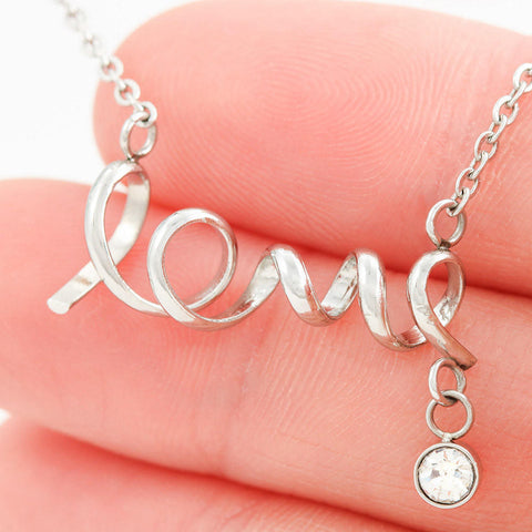 """To Daughter, Love Dad-Never"" Scripted Love Necklace"