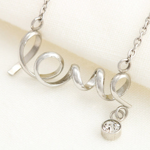 """To Wife, Love Husband-Broken Road"" Scripted Love Necklace"