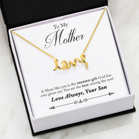 "Image of ""To Mom, Love Son-Best"" Scripted Love Necklace"