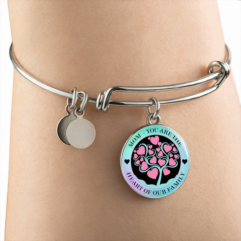 """Mom ~ You Are the Heart of Our Family"" Necklace or Bangle Bracelet"