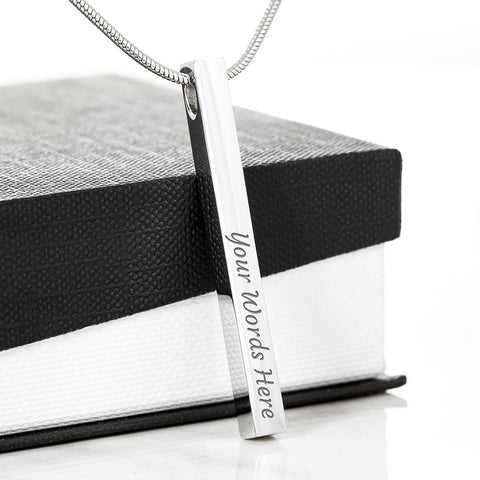 Image of Engraved 2 Sides Vertical Bar Necklace