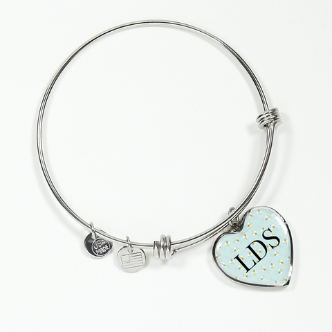 Image of LDS Heart Charm Necklace or Bangle Bracelet