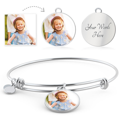 Image of Your Photo Custom Design Circle Charm Bangle Expandable Bracelet with Optional Engraving