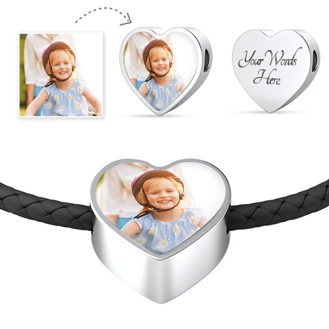 Your Photo Custom Design Heart Charm Double-wrapped Leather Bracelet with Optional Engraving