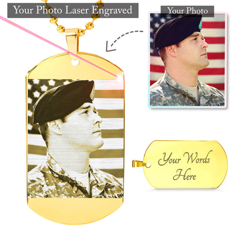 Your Photo Custom Laser Engraved Design Tag & Military Chain