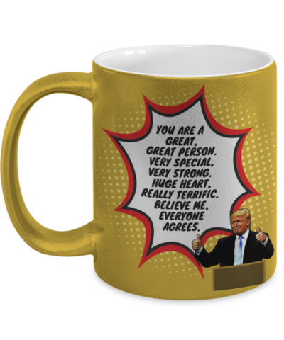 Image of Funny Trump Person Praise Mug - Gold