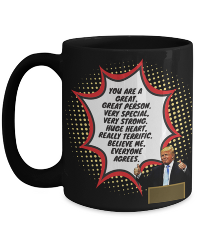 Image of Funny Trump Person Praise Mug - Black