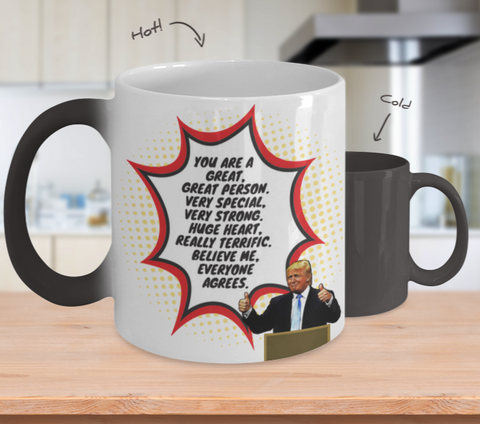 Image of Funny Trump Person Praise Mug - Changing Color