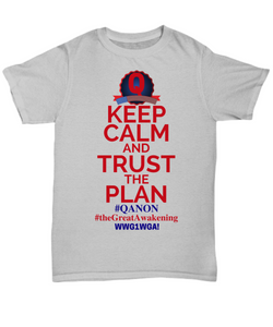 Q Trust the Plan, WWG1WGA, QAnon, the Great Awakening Tee Shirt