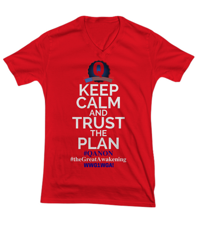 Image of Q-Trust the Plan WWG1WGA The Great Awakening Qanon V-Neck Shirt