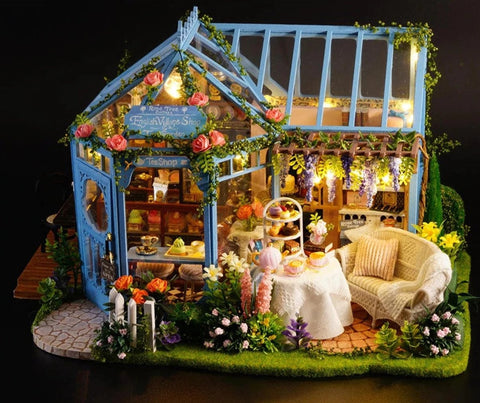 DIY Sweet Shop & Tea Room Wooden Dollhouse Handmade Miniature House Furniture Light Kit