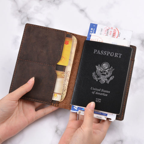Genuine Crazy Horse Leather Passport Cover