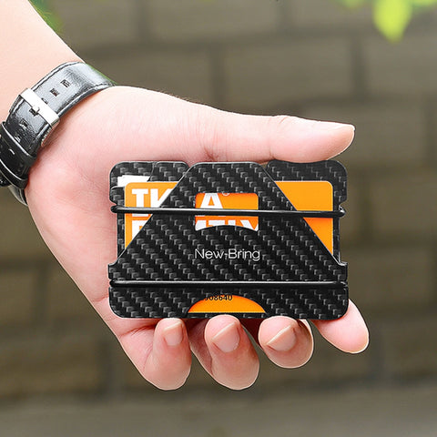 NewBring 100% Carbon Fiber With RFID Anti-thief Blocking ID Card Wallet