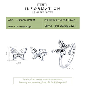 Butterfly Sterling Silver Jewelry Set