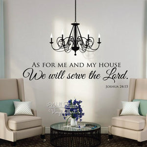 """As For Me And My House We will serve the Lord."" Wall Decals"