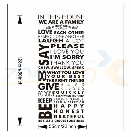 Image of In This House We Are A Family Wall Decal