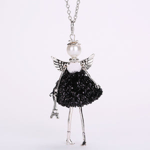 Handmade Doll with Angel Wings Paris Necklace
