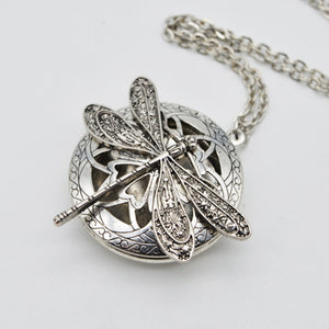 Vintage Dragonfly Essential Oil Diffuser Locket Necklace
