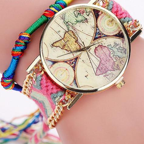 Handmade Braided Friendship Bracelet World Map Quartz Watch