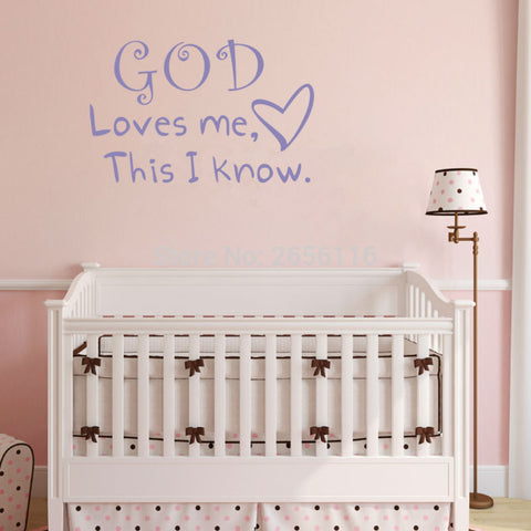 "Image of "" God Loves Me This I Know."" Wall Decal"