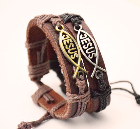 Image of Handmade Leather Jesus Bracelet